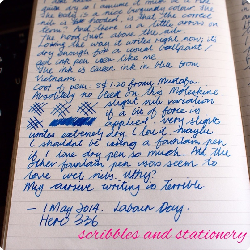 writing sample: Hero 336,  fine nib (most likely), Queen blue ink, Moleskine planner