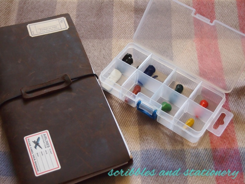 DIY watercolour palette in pillbox with traveller's notebook