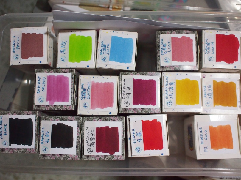 Nicely catalogued fountain pen ink boxes